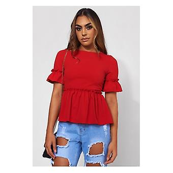 The Fashion Bible Lilly Red Frill Top