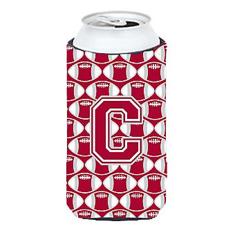 Letter C Football Crimson, grey and white Tall Boy Beverage Insulator Hugger