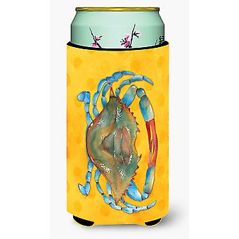 Blue Crab Yellow Polkadot Tall Boy Beverage Insulator Hugger