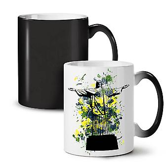 Christ Redeemer Brazil NEW Black Colour Changing Tea Coffee Ceramic Mug 11 oz | Wellcoda