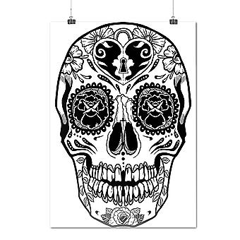 Matte or Glossy Poster with Crazy Print Skull | Wellcoda | *d1995