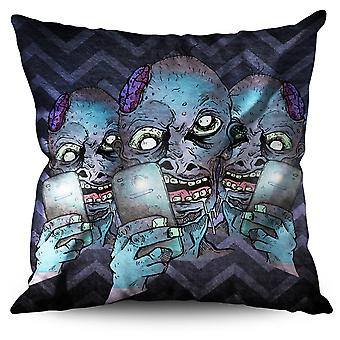Selfie Brain Creep Zombie Linen Cushion Selfie Brain Creep Zombie | Wellcoda