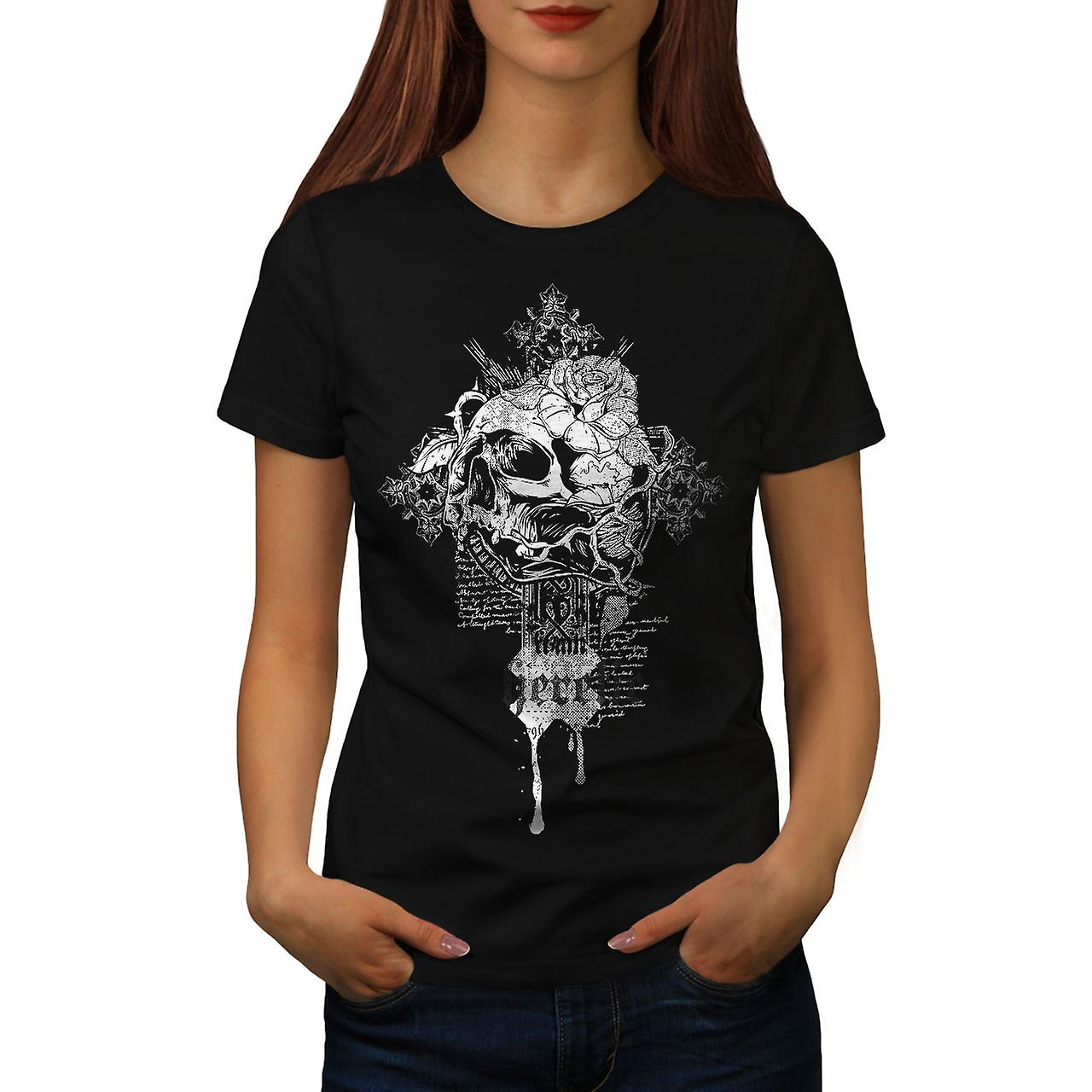 Rose Dead Flower Skull Women Black T-shirt | Wellcoda