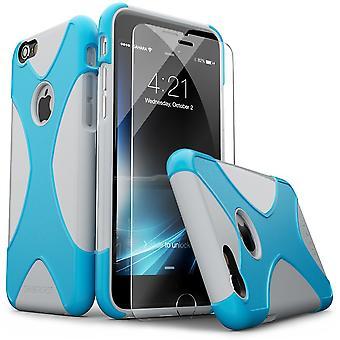 SaharaCase® iPhone 6/6s Silver Blue Case, X-Case Protective Kit Bundle with ZeroDamage® Tempered Glass
