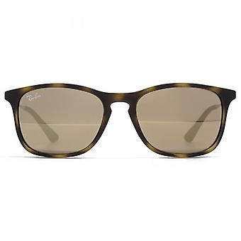 Ray-Ban Junior Keyhole Square Sunglasses In Matte Havana Brown Mirror