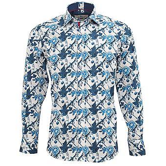 Claudio Lugli Indigo Floral Print Mens Shirt