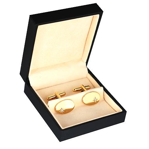 Hard gold plated 12x17mm oval star set CZ swivel Cufflinks