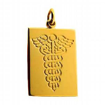 18 Karat Gold 25x18mm einfachen rechteckigen medizinische Alarm Disc mit glasigen rot emailliert