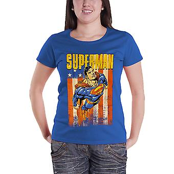 Superman T Shirt DC Comics Distressed Flying Official Womens New Blue Skinny Fit