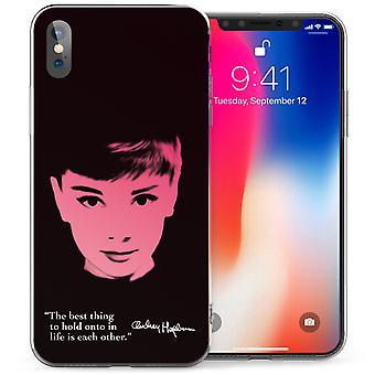 iPhonegeval X Audrey Hepburn citeer TPU Gel - zwart / roze