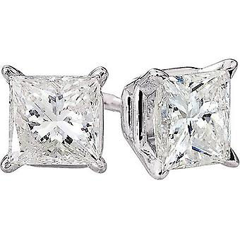 1ct Princess Cut Natural Diamond Studs 14K White Gold