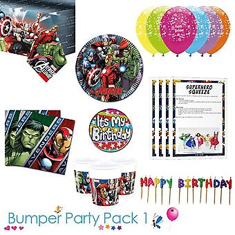 Avengers party tableware bumper pack 1 for 8, 16, 24 or 32 guests - 32 guests