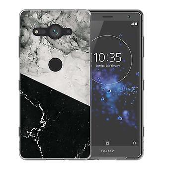 Sony Xperia XZ2 Kompakt schwarz weißen Marmor Slice TPU Gel Gehäuse