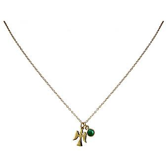 Guardian Angel - 925 Silver - gold-plated ladies - necklace - pendants - Angel - - emerald - green - 1.3 cm