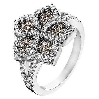 Orphelia Silver 925 Ring Brown/White  Zirconium   ZR-3921