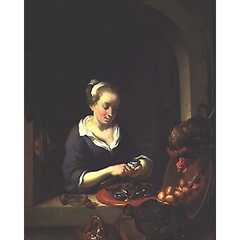 The Kitchenmaid (panel) by Louis de Moni - Art Print