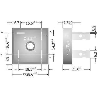 Diotec KBPC10/15/2502FP pont de Diode KBPC 200 V 25 A 1 phase
