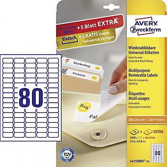 Avery-Zweckform L4732REV-25 Labels 35.6 x 16.9 mm Paper White 2400 pc(s) Removable All-purpose labels Inkjet, Laser, Copier 30 sheet A4