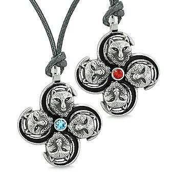 Supernatural Courage Wolf Amulets Love Couples Best Friends Blue Red Crystals Adjustable Necklaces