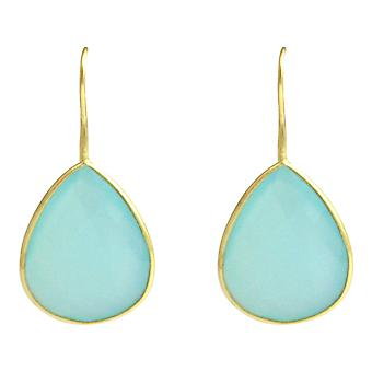 Gemshine - CANDY - chalcedony - Green - gold plated ladies - earrings - 925 Silver - - drop - 3.5 cm