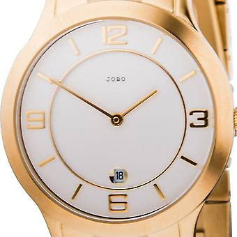 JOBO men's wristwatch quartz analog stainless steel gold plated Crystal