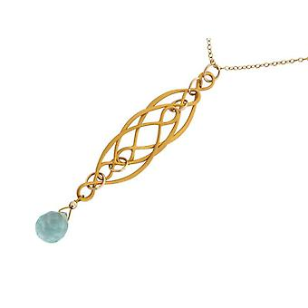Aquamarine necklace ladies necklace aquamarine quartz gold plated blue