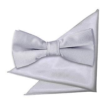 Zilver platte satijnen strikje & zak plein voor jongens instellen