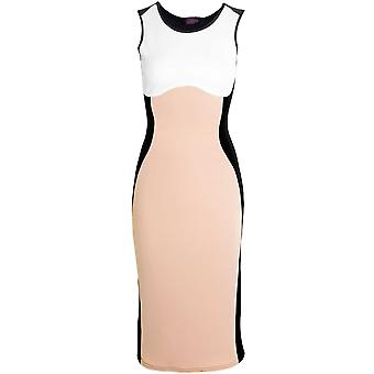 Womens Illusion Towie bantning effekt naken knä längd Bodycon damer klänning