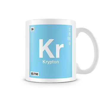 Wetenschappelijke bedrukte Mok met Element symbool 036 Kr - Krypton