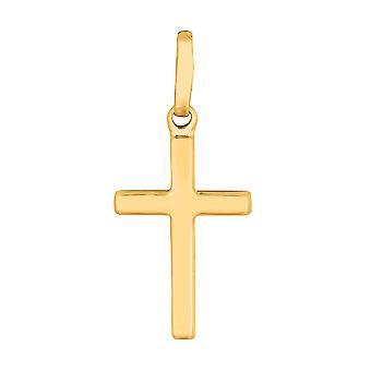 14k gult gull skinnende kvadrat Flat stil Cross anheng