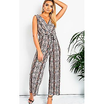 IKRUSH Womens Mads Plunge Crimped Wide Leg Stretch Jumpsuit