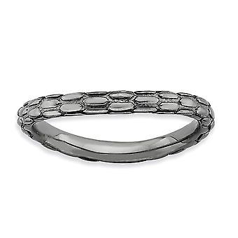 2,25 mm Sterling Silver mönstrad rutenium plätering stapelbar uttryck polerad svart-tallrik Wave Ring - Ring storlek: 5 t