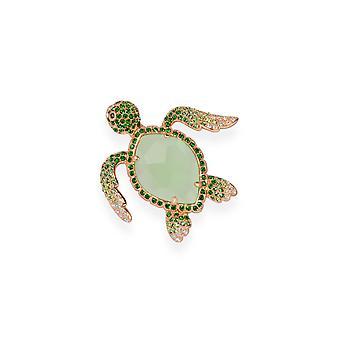Grüne Brosche mit Kristallen von Swarovski 7112