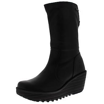 Mujeres volar Londres sí botas de cuero tacón de cuña negro invierno caliente mediados ternero