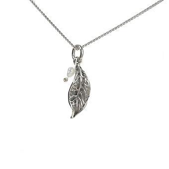 Cavendish francese argento piccolo rustico foglia e perla pendente con catena d'argento di 16-18
