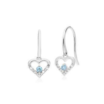 Gemondo 9ct Weißgold einzelne Blautopas & Diamantherz Ohrhänger