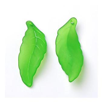 Packet 30 x Green Lucite 14 x 38mm Leaf Beads HA26145
