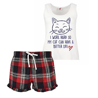 I Work Hard So My Cat Can Have A Better Life Cat Ladies Tartan Frill Short Pyjama Set Red Blue or Green Blue