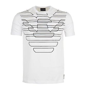 Emporio Armani Cotton Round Neck Printed Eagle Logo White T-shirt