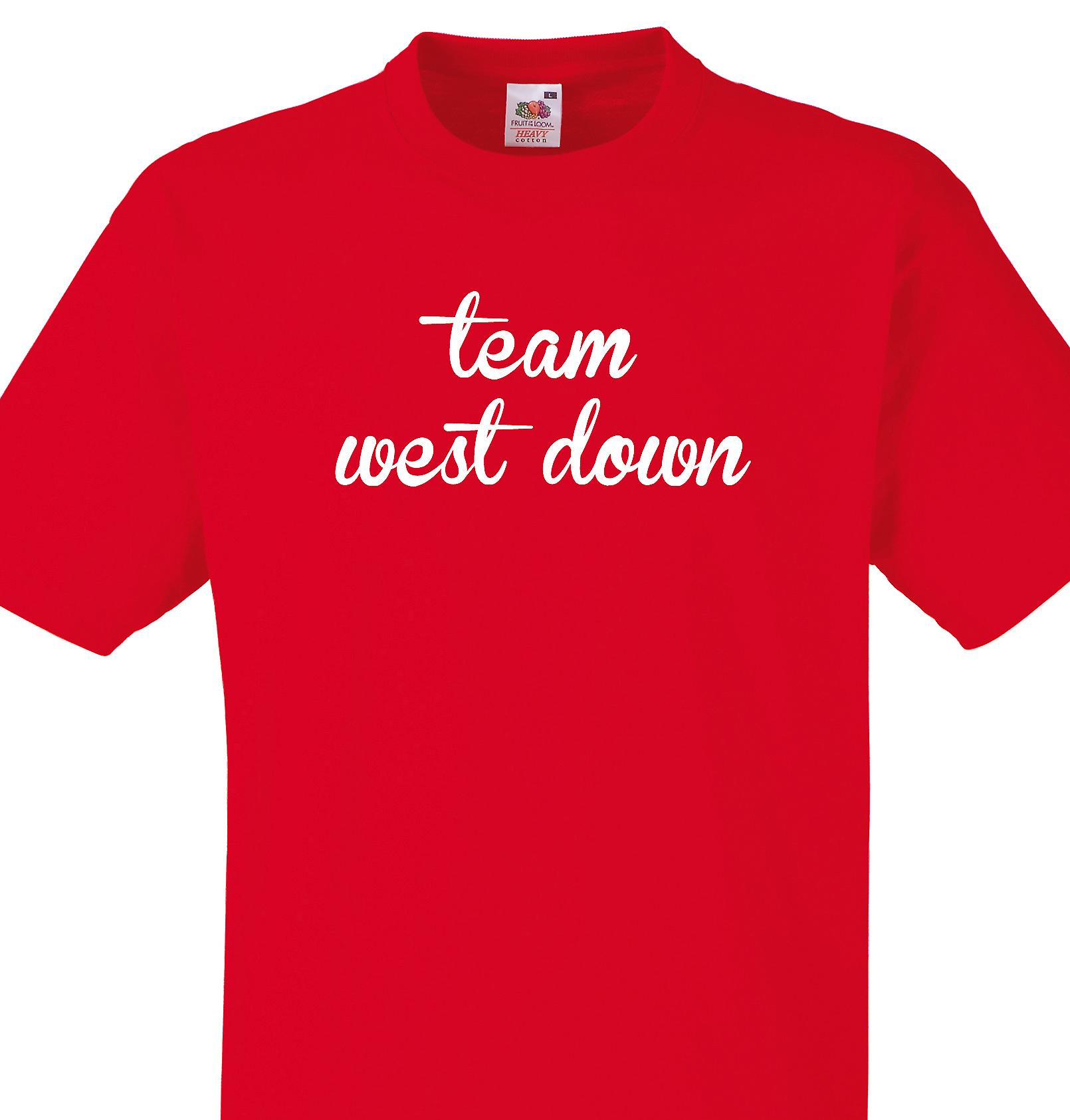 Team West down Red T shirt