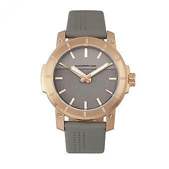 Morphic M54 Series Leather-Band Chronograph Watch - Rose Gold/Grey