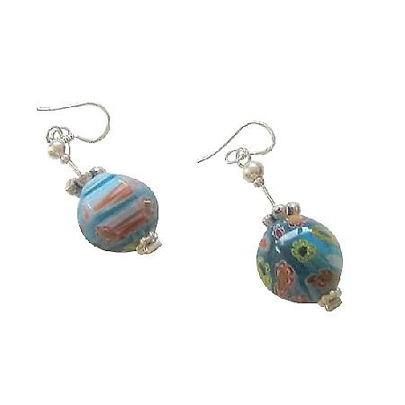 Venetian Glass Bead w/ Bali Silver Earrings Sterling Silver Earrings