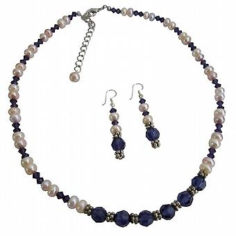 Light Purple Freshwater Pearls w/ Purple velvet Crystals Necklace Set