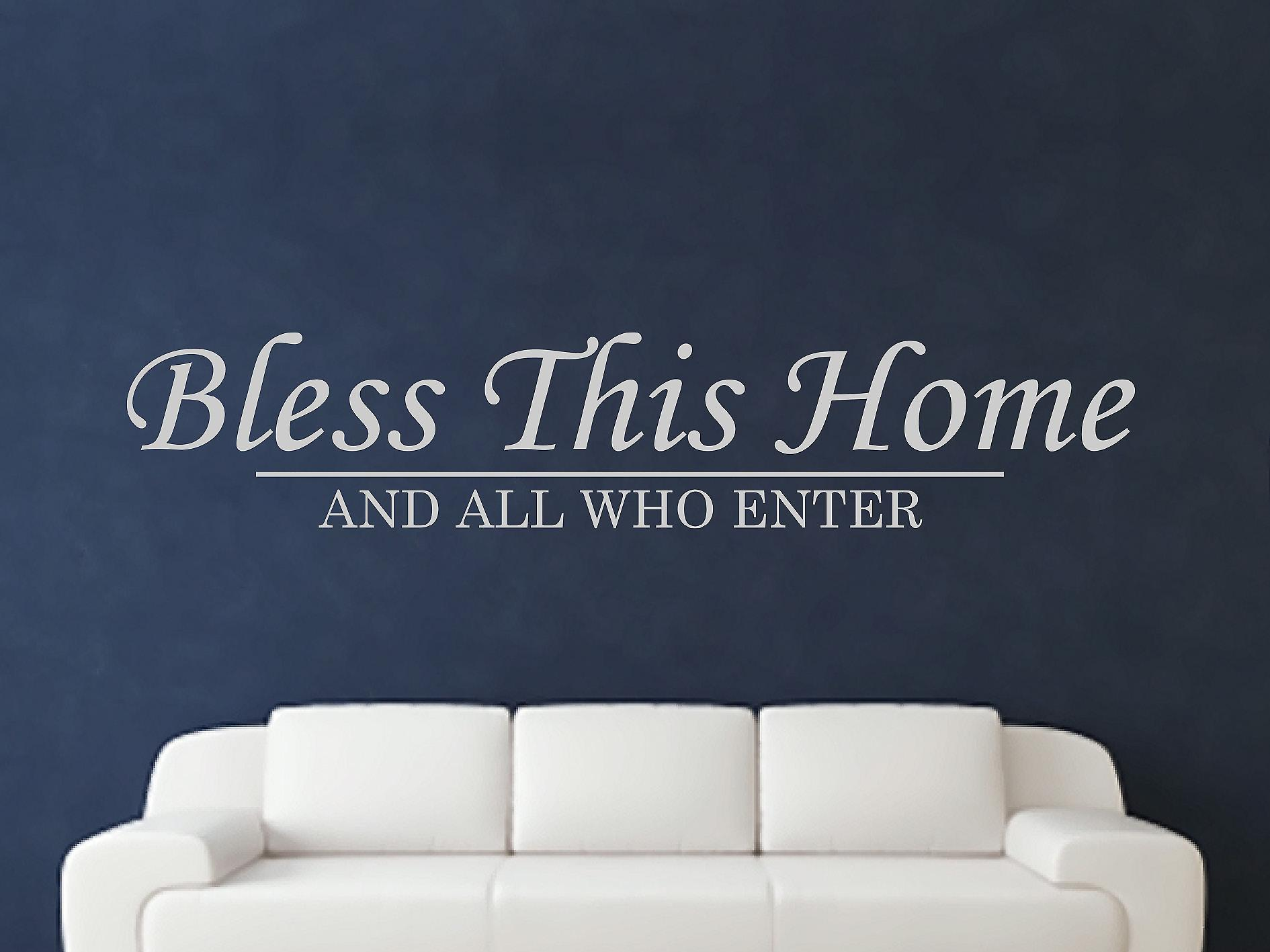 Bless This Home Wall Art Sticker - Grey