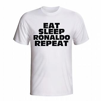 Eat Sleep Ronaldo Repeat T-shirt (white) - Kids