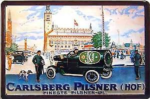 Carlsberg Bottle Car embossed metal sign