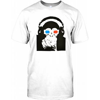 Monkey With 3d Glasses And Headphones - Cool Mens T Shirt