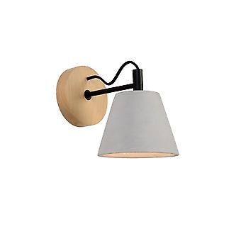 Lucide Possio Scandinavian Round Concrete Taupe And Wood Wall Light