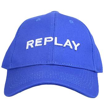 Replay Cotton Stitched Logo Blue Cap