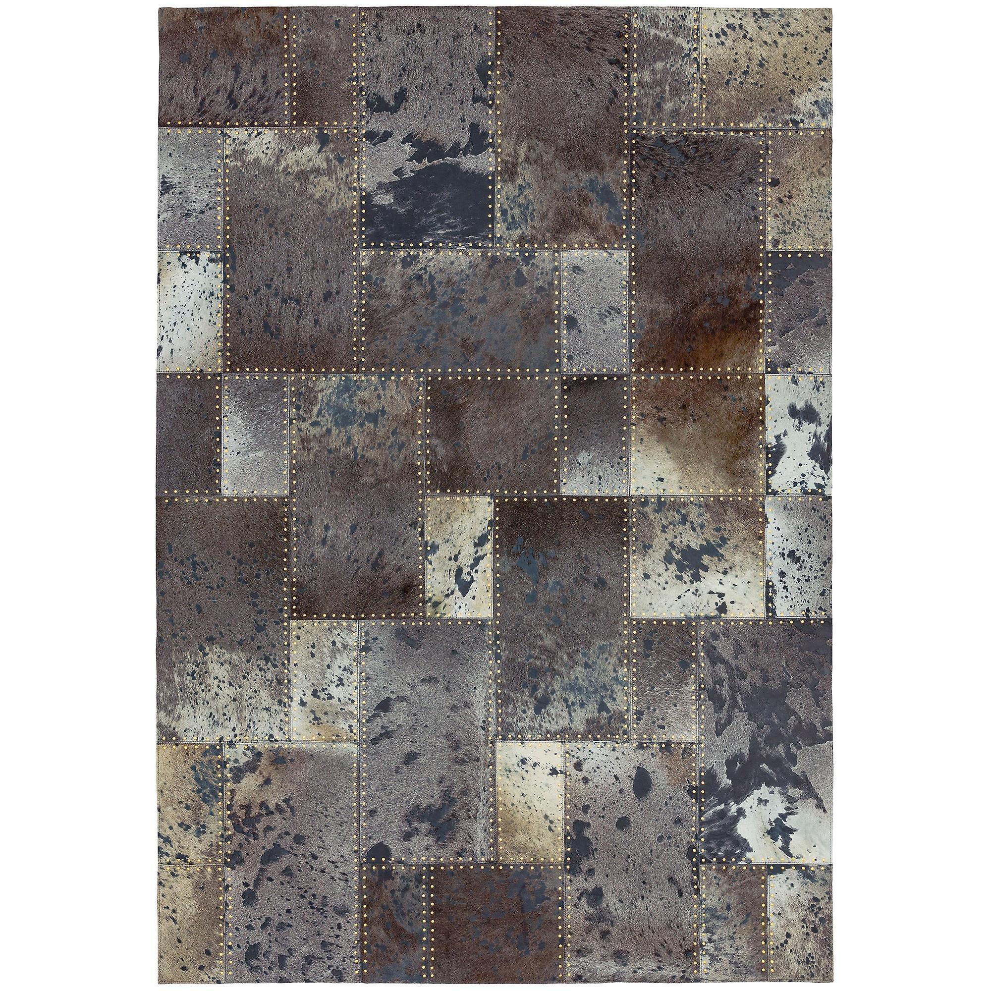 Xylo main cousu tapis peau de vache dans les Studs noirs gris